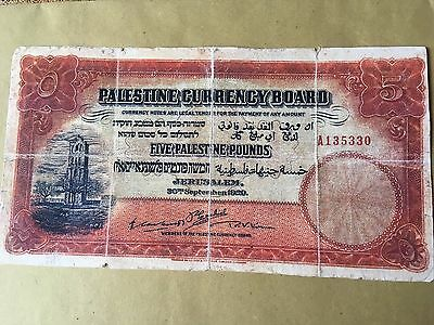 1929 Palestine Currency .Five Palestine Pounds. Banknote,