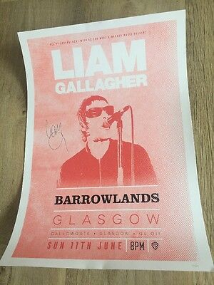 Liam Gallagher, Signed Concert /Gig poster/print, Glasgow, June 2017!!