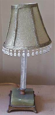 Beautiful Vintage Solid Brass & Green Onyx Table Lamp, Etched Glass Column WORKS