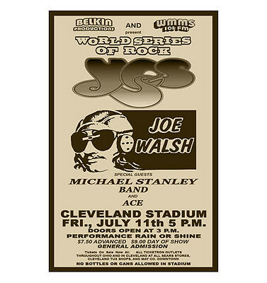 Yes/Joe Walsh 1975 World Series Of Rock Concert Poster