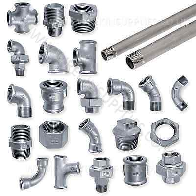 "Galvanised Malleable Iron Pipe Fittings Bsp 1/8"" - 4"" Galv - Pneumatic 1/4"" 1/2"""