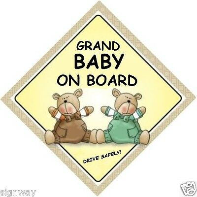 GRAND BABY ON BOARD! - Two Bears  MADE IN AUSTRALIA - with Peel Strips FREE POST