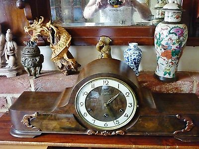 Antique large German Junghans c 1912 westminster chimes oak carved mantle clock