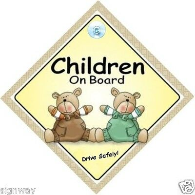 CHILDREN ON BOARD! - Two Bears - MADE IN AUSTRALIA - Suction Cup - FREE POST