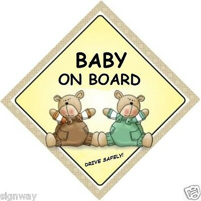 BABY ON BOARD! - Two Bears - MADE IN AUSTRALIA - with Peel Strips FREE POST