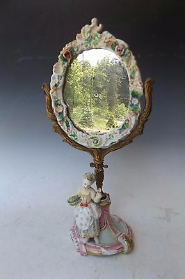 19th Century French Porcelain Mirror with Figurine at Base