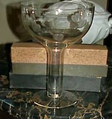 Engraved Blown Glass Compote Heart & Arrow Tall Hollow