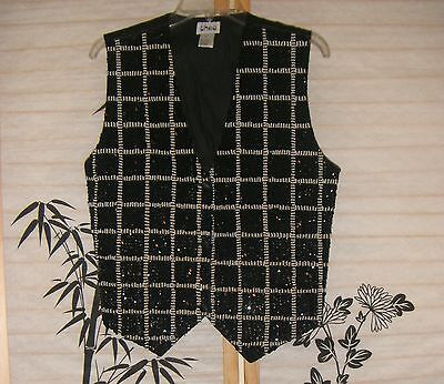 Women's Vest Size M Black Satin Embellished Sequin THEO  EUC