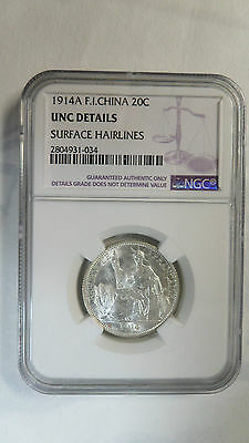 French Indochina Vietnam 20 Cents, 1914 A, NGC UNC Details Key Date