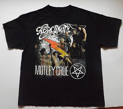Motley Crue And Aerosmith 2006 Original Concert Tour T Shirt Sz -L Rock &roll