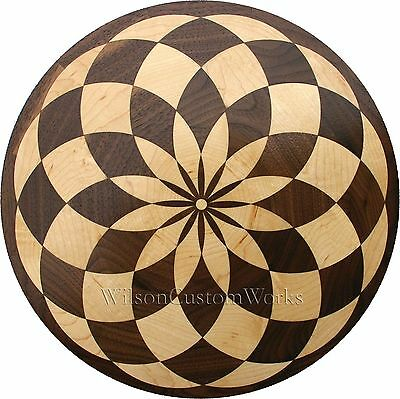 "18"" Assembled Wood Floor Inlay 85 Piece Baltic Circle Medallion Flooring Table"