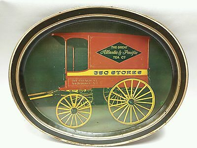 Vintage The Great Atlantic & Pacific Tea Co. A&P Oval Tin Advert Tray With Wagon