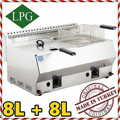 NEW Stainless Steel Propan Gas Commercial Countertop Deep Fryer Propane LPG 16Lt