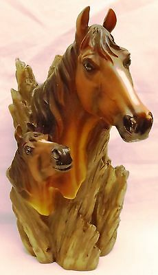 "Horse / Mare and Foal Resin Wall Plaque Figurine (Free Stands Also) 11"" Tall"