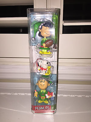 Brand New In Box 3 Peanuts Holiday Figures-Lucy W/football+Snoopy+Charlie Brown