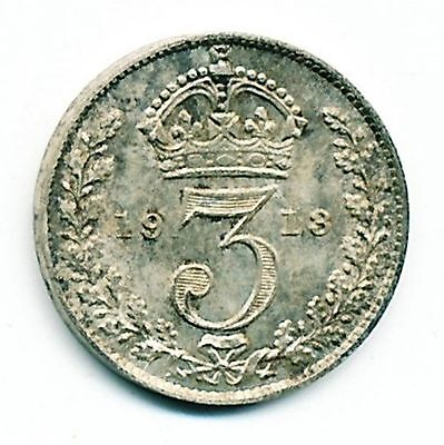 1913 Uncirculated Great Britain Silver 3 Pence