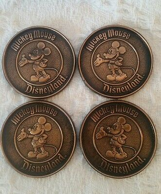 Set Of 4 Brass Mickey Mouse Disney World Coasters With Original Box