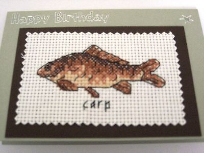 Birthday Card Completed Cross Stitch Carp 6x4""