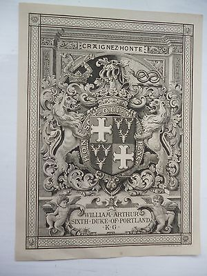 Superb Bookplate of Duke of Portland by J A C Harrison 1900