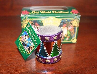 "Old World Christmas OWC 2"" Blown Glass Toy Drum Ornament with Box"