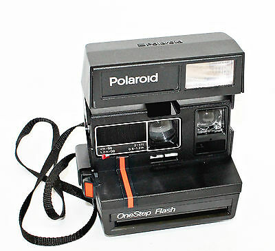 Polaroid One Step Flash Instant Camera Red and Black Stripe 600 FILM Tested #J20