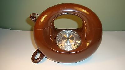 VINTAGE RETRO BROWN DONUT SCULPTURA PHONE Rotary Dial Western Electric 1970s