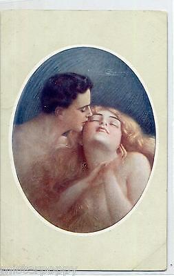 GUERZONI The Kiss Il Bacio Glamour Girl Romance Nude Donnina PC Circa 1915