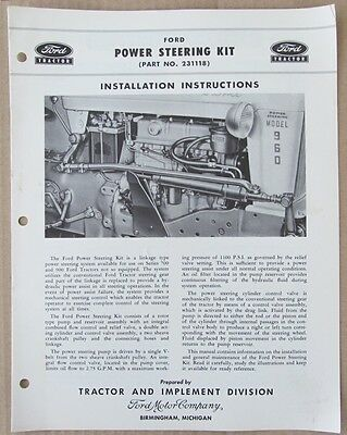 Ford Series 700 & 900 Tractor Power Steering Kit 231118 Installation Manual