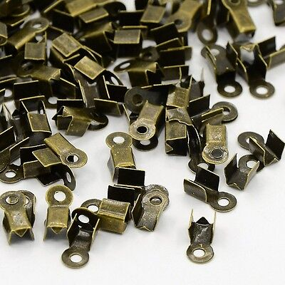 100 EMBOUTS CACHE NOEUDS A ECRASER METAL BRONZE 3 x 9 mm CREATION BIJOUX PERLE