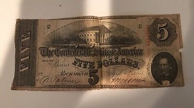 1863 Confederate States of America $5 Five Dollars Bill Note Currency