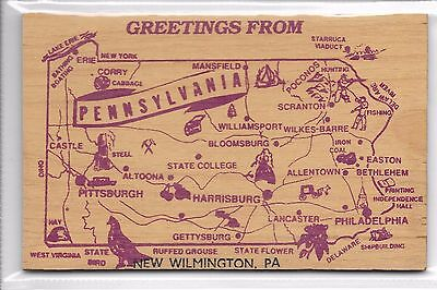 Old Novelty Postcard  In Wood featuring map of Pennsylvania