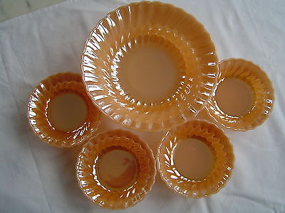 Anchor Hocking Fire King Peach Orange Trifle Dishes & Serving Dish 1950s Vintage