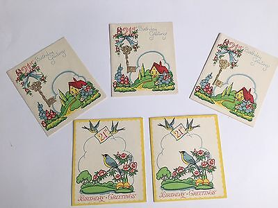 Lot Of 5 Vintage 21st Birthday Cards Unused Craft Supplies