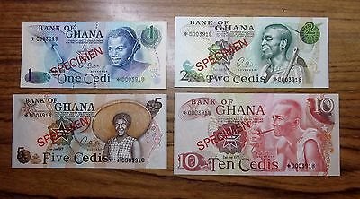 1978 Ghana Star Specimen Set ✪ 1 2 5 10 Cedi ✪ 4 Piece Unc Bank Cu ◢Trusted◣