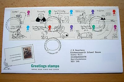 Pristine Greeting Stamps 1996 Special Handstamp Booklet Pane First Day Cover