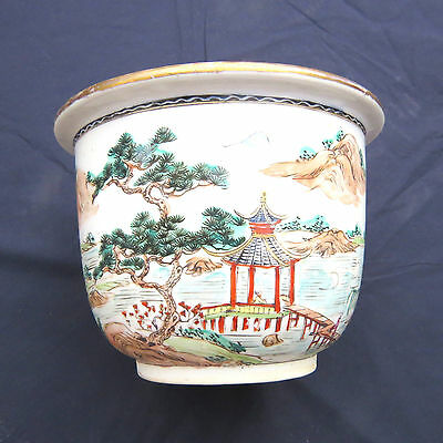 """Vintage Chinese Hand Painted Porcelain Planter 6.5x9"""""""