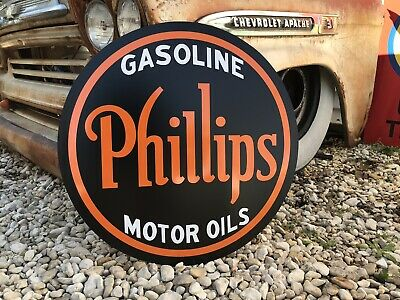 Antique Vintage Old Style Phillips Oil Gas Sign 24""