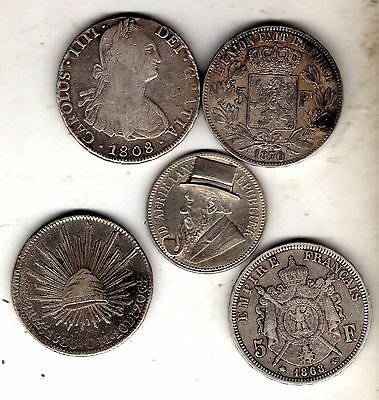 5 x silver  coins n01.interesting lot