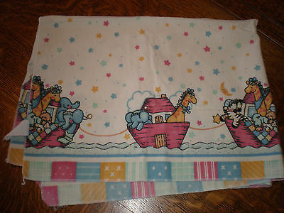 Vintage Noah's Ark Receiving Blanket Baby Nursery Swaddling Girl Boy Unisex