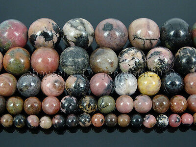 Natural Black Line Rhodonite Gemstone Round Beads 15.5'' 4mm 6mm 8mm 10mm 12mm