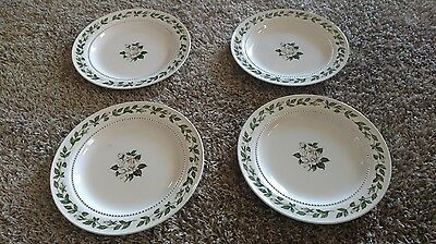 "Lot of 4 Vintage Salad Plates, Hall Superior China ""Cameo Rose"" Pattern"