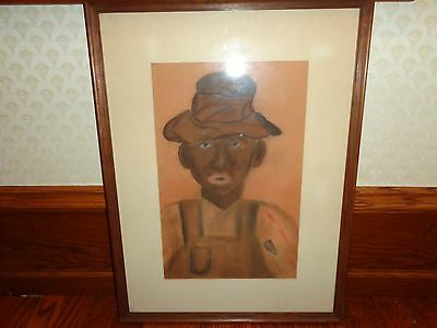 Vintage Original Painting, Pastel on Paper, Folk Art Black Memorabilia, Signed