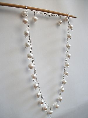 handmade freshwater pearl and silver chain necklace