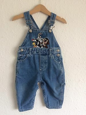 Vintage 90s Looney Toons Kids Bugs Bunny Cartoon Novelty Dungarees 18M