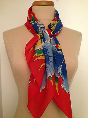 """Retro Jacques Rollet 70's """"La Martinique""""  Lovely Floral Scarf Made in Paris"""