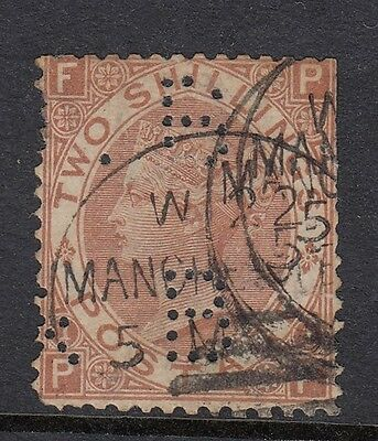 GB QV SG121  2/- Brown Plate 1 Used - perfin/corner crease - Manchester CDS