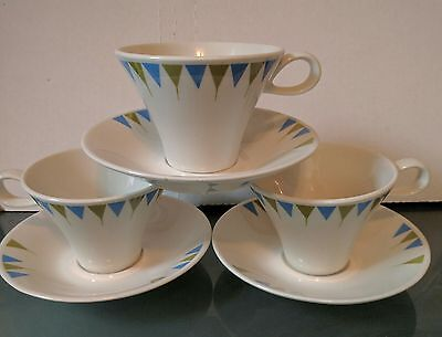 Set of 3 True China By Iroquois Ben Siebel Coffee Cups and Saucers Blue Green