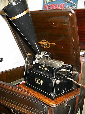 Restored Edison 2 Minute Black Gem Cylinder Phonograph With End Gate And C Repro