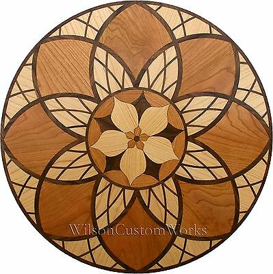 "18"" Wood Floor Inlay 238 Piece Cathedral Flower kit DIY Flooring Table Box"