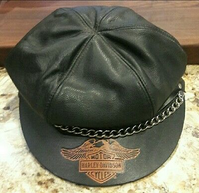 VINTAGE style Harley Davidson Leather Cap/All Leather/With Chain/